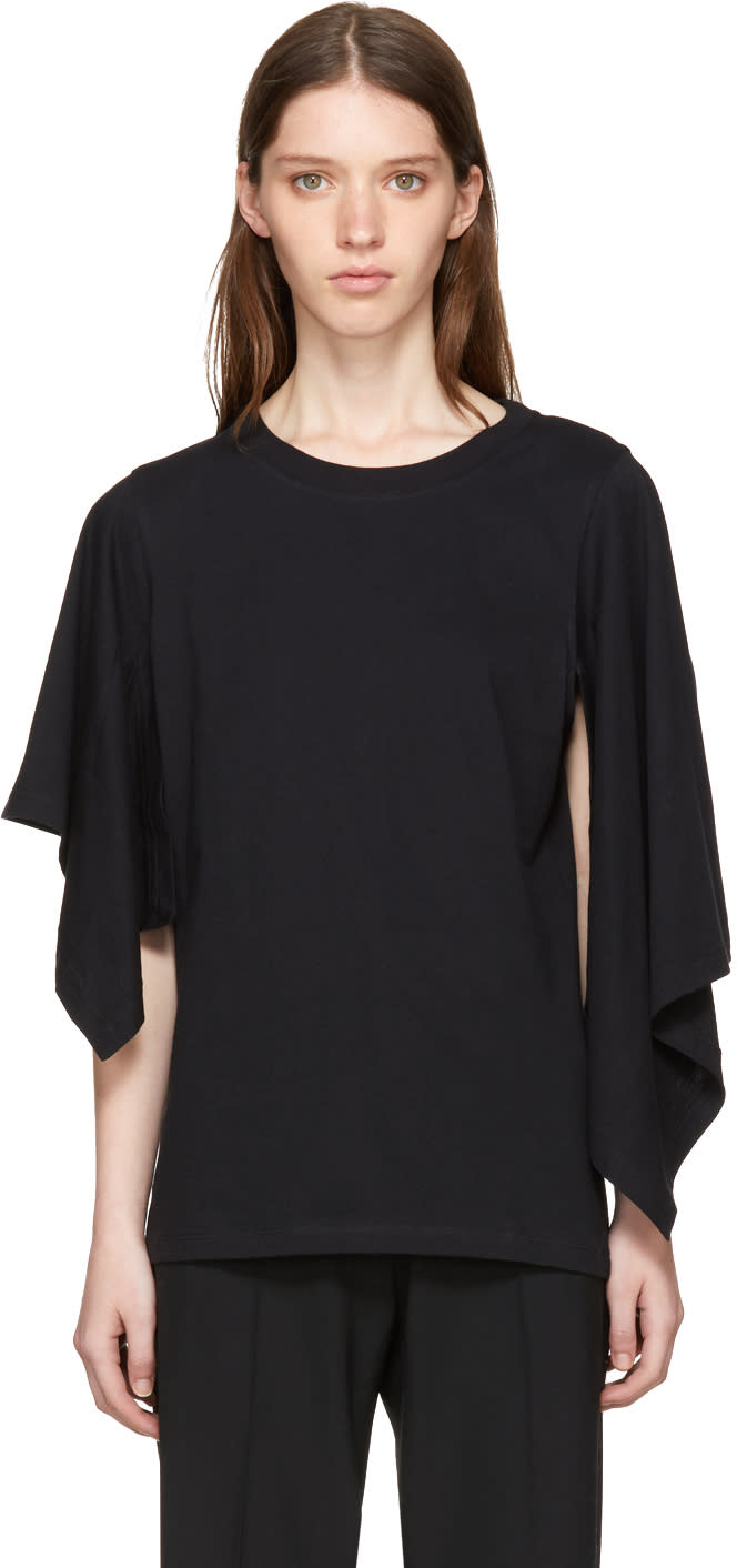 Image of J.w. Anderson Black Asymmetric Drape T-shirt