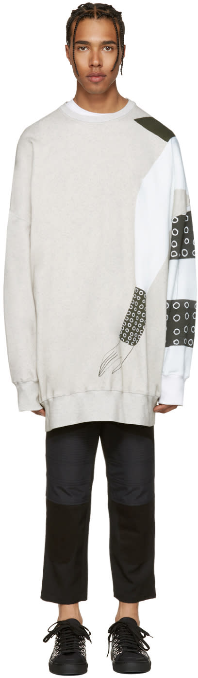 J.w. Anderson Ssense Exclusive Grey Kelly Beeman Edition Oversized Graphic Pullover
