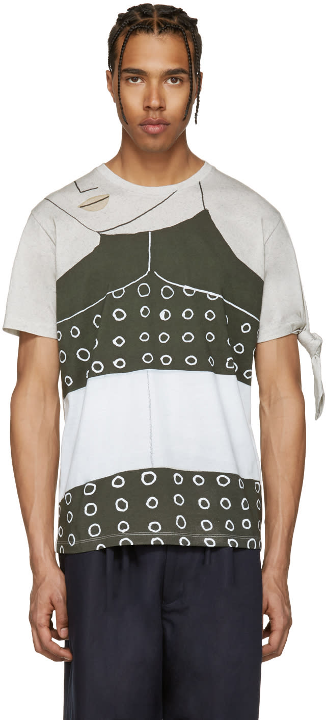 J.w. Anderson Ssense Exclusive Grey Kelly Beeman Edition Single Knot T-shirt