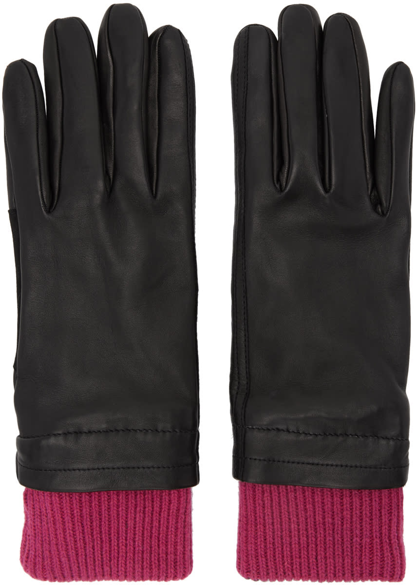 Image of Ami Alexandre Mattiussi Black and Purple Rib Cuff Gloves
