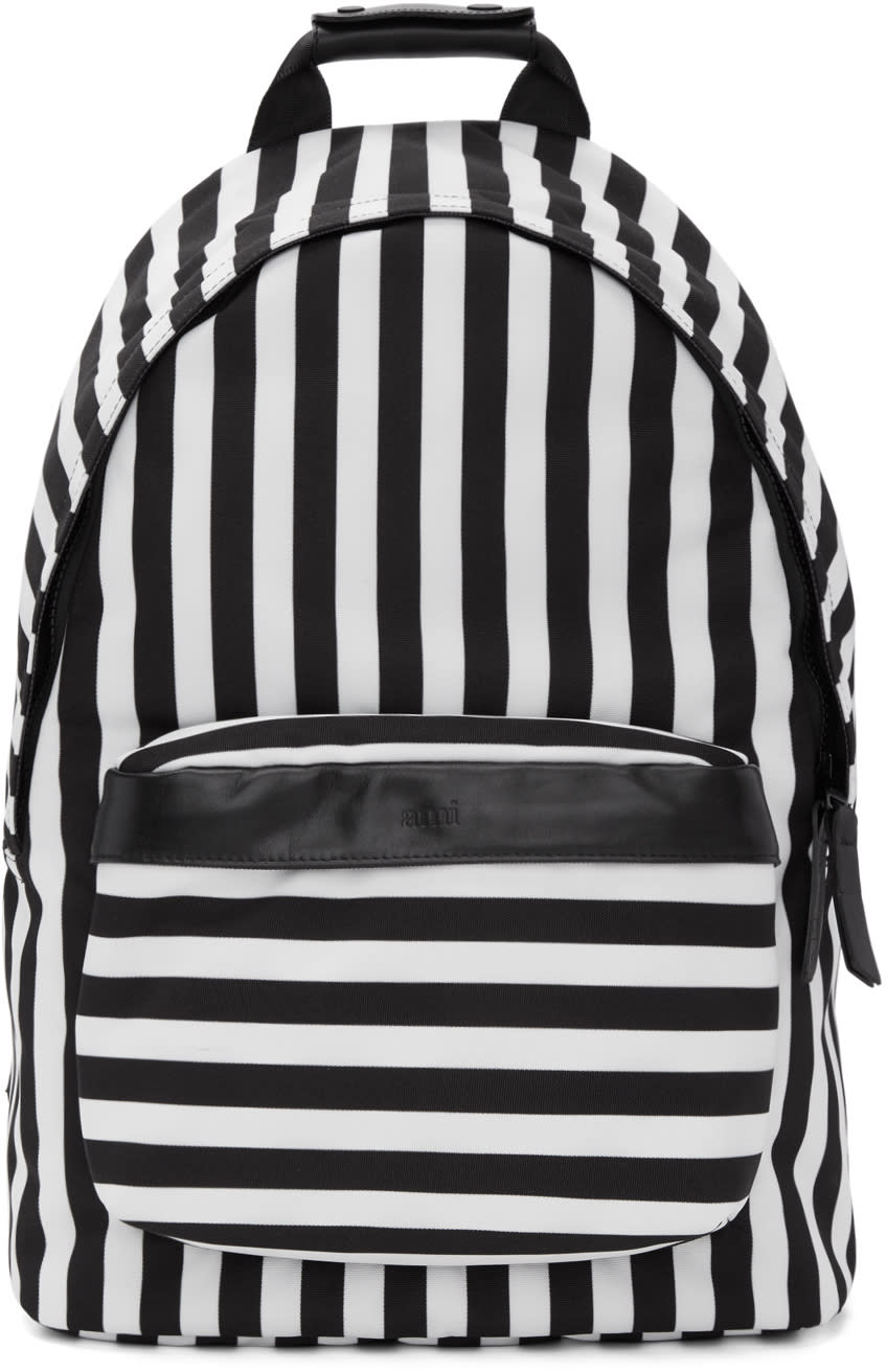 Image of Ami Alexandre Mattiussi Black and White Striped Backpack