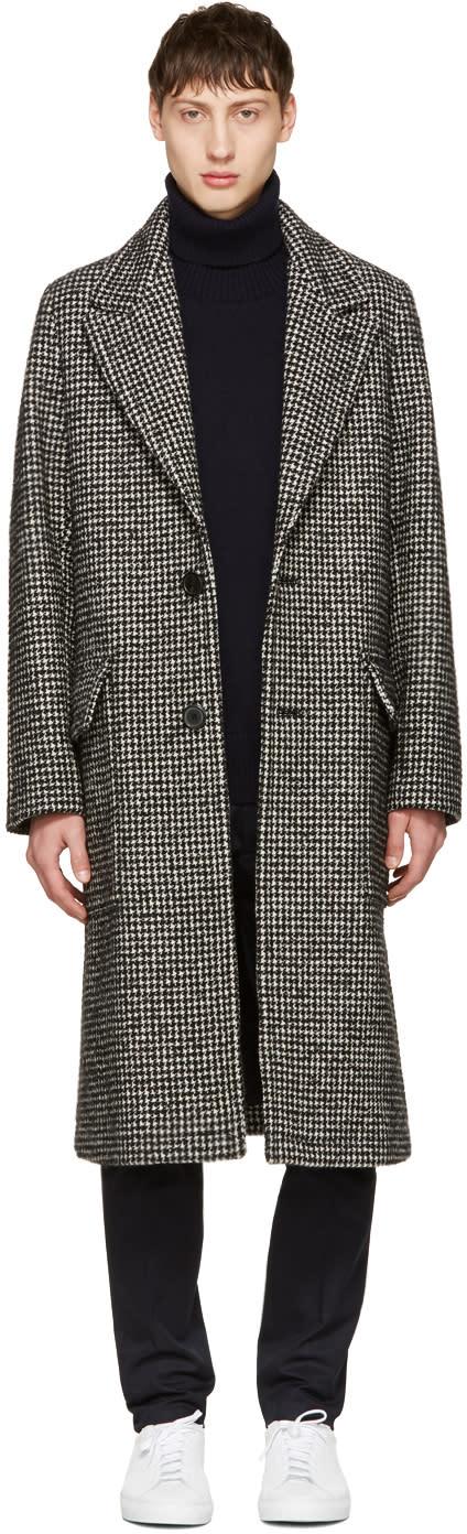 Ami Alexandre Mattiussi Black Houndstooth Two-button Coat