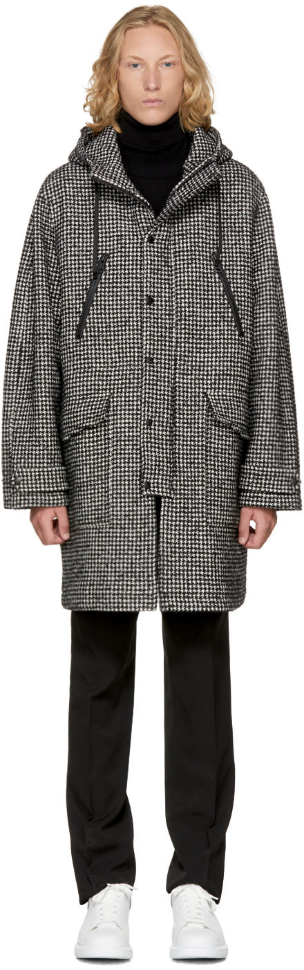 Image of Ami Alexandre Mattiussi Black and White Long Houndstooth Parka