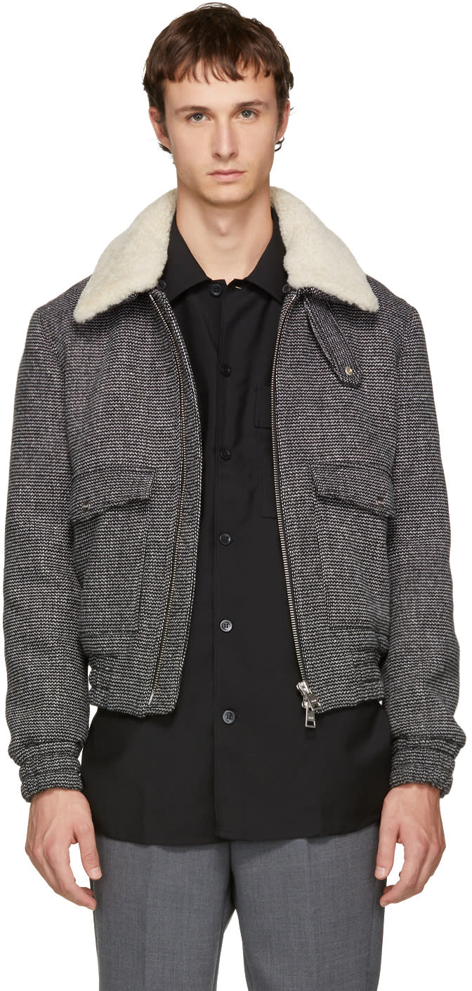 Image of Ami Alexandre Mattiussi Black and White Shearling Bomber Jacket