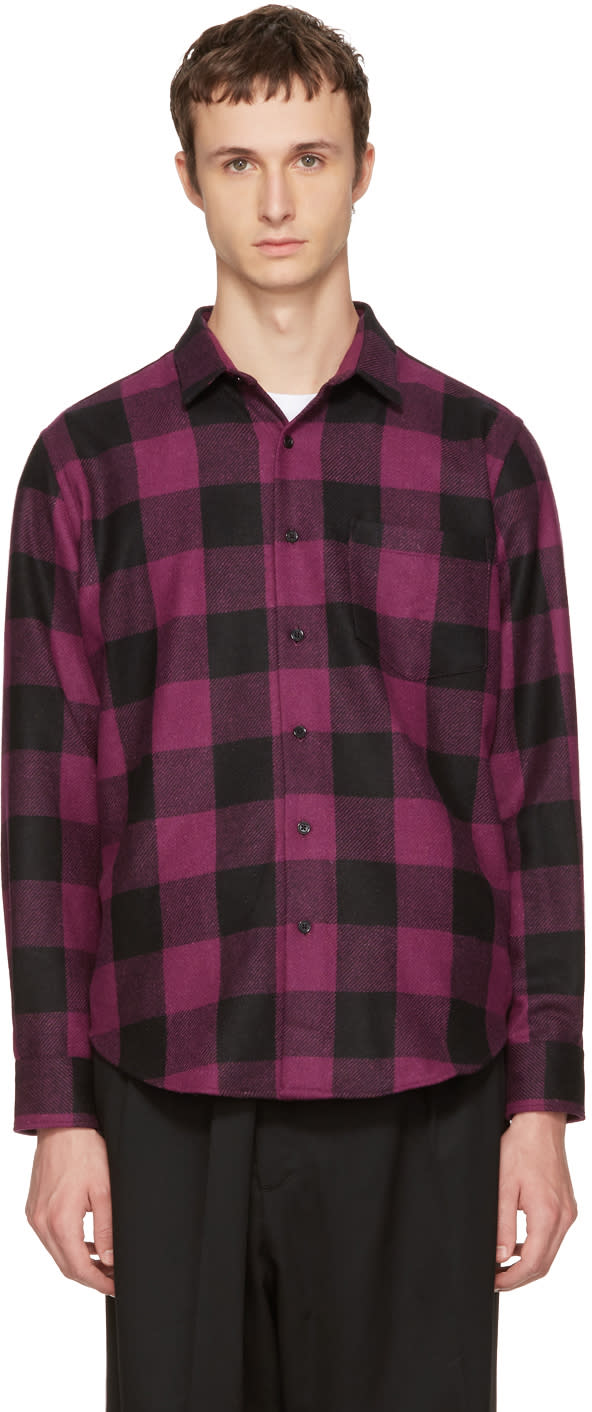 Image of Ami Alexandre Mattiussi Black and Purple Large Check Shirt