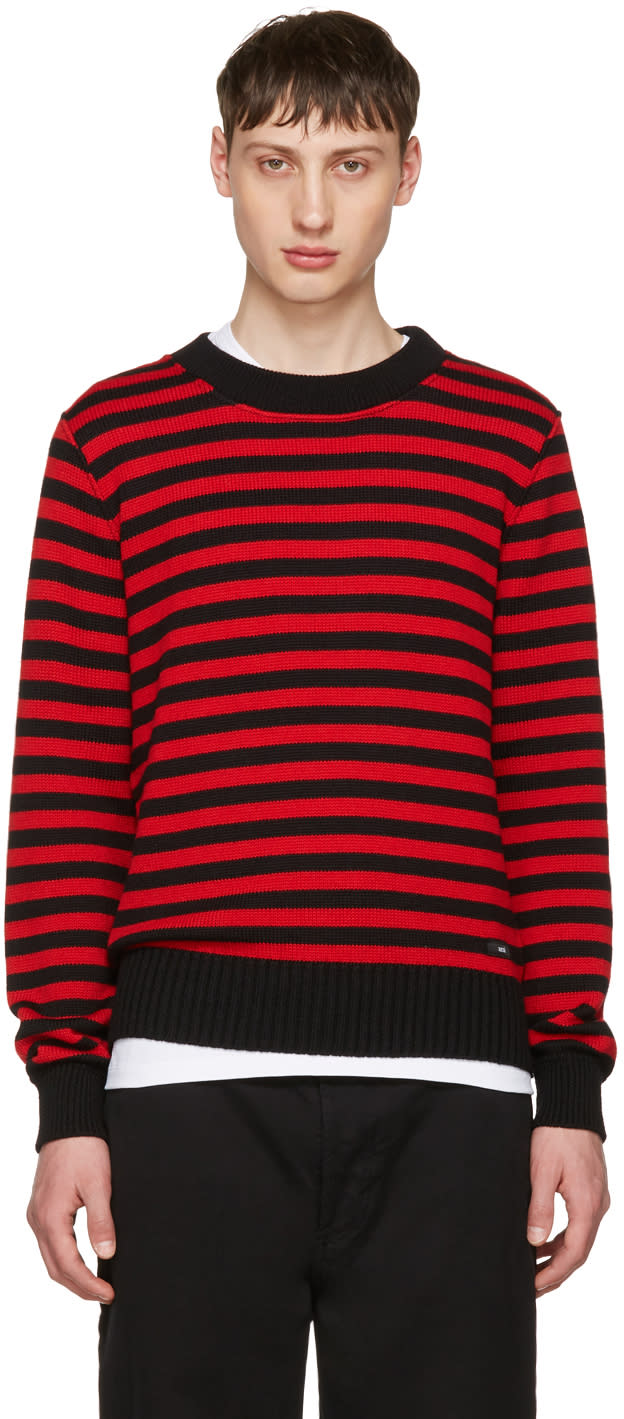 Image of Ami Alexandre Mattiussi Black and Red Striped Sweater