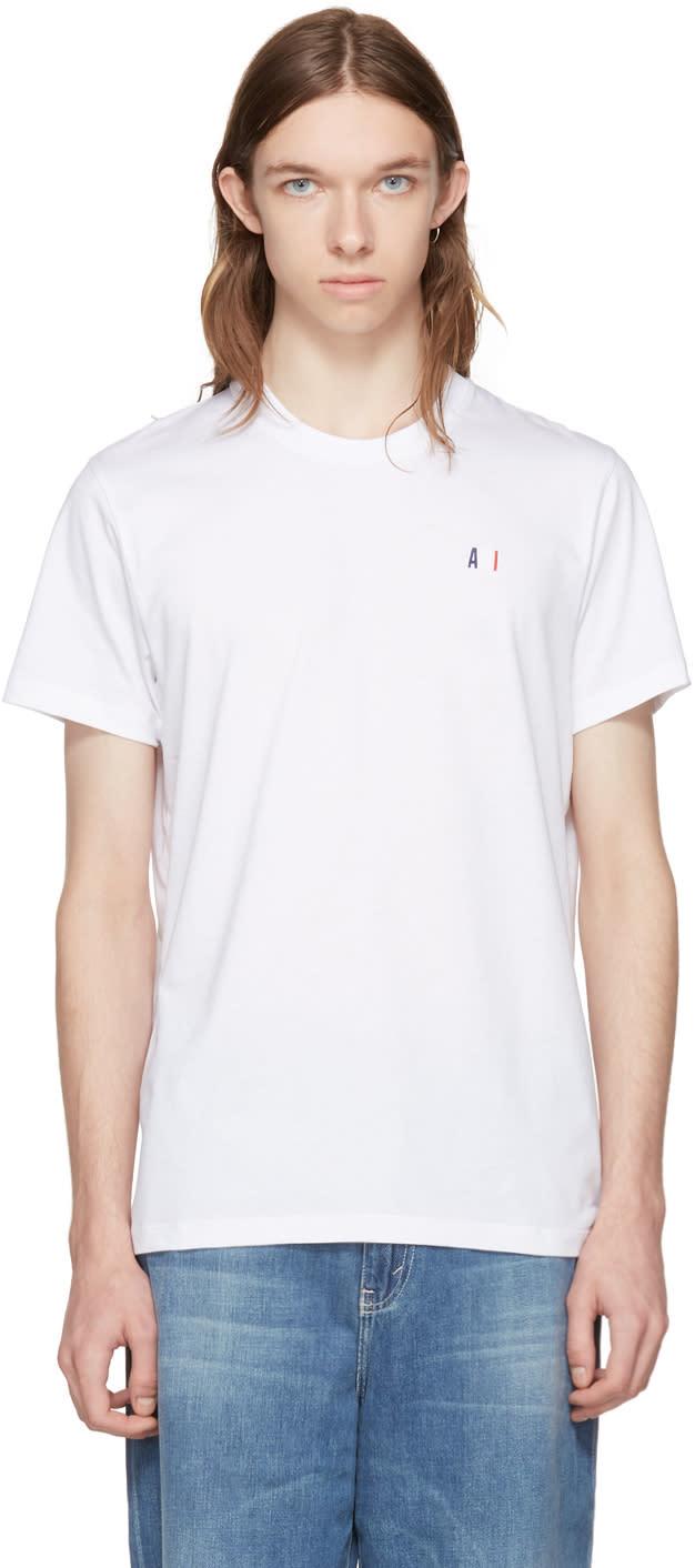 Ami Alexandre Mattiussi White Crewneck Logo T-shirt