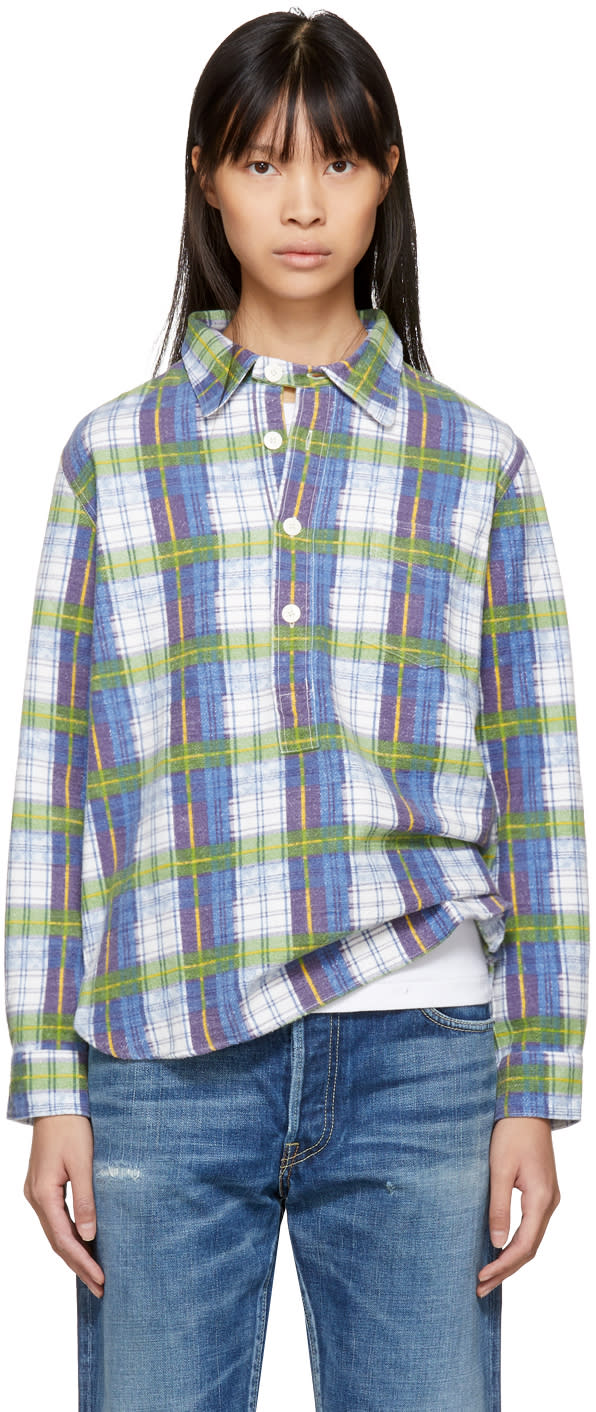 Visvim Blue Brushed Cotton Check Shirt