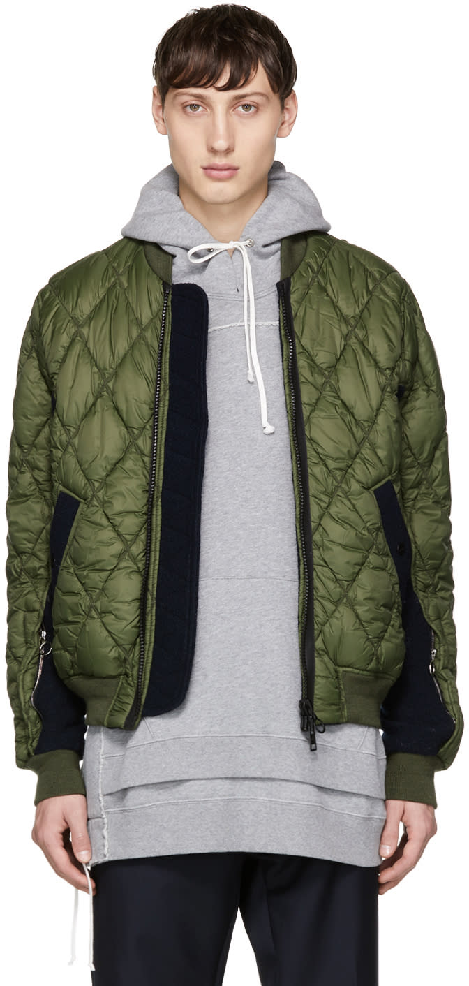 Image of Tim Coppens Green Quilted Ma-1 Bomber