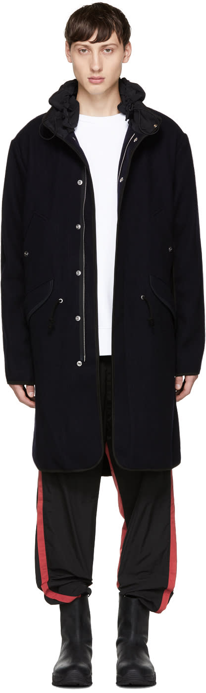 Image of Tim Coppens Navy Wool Parka