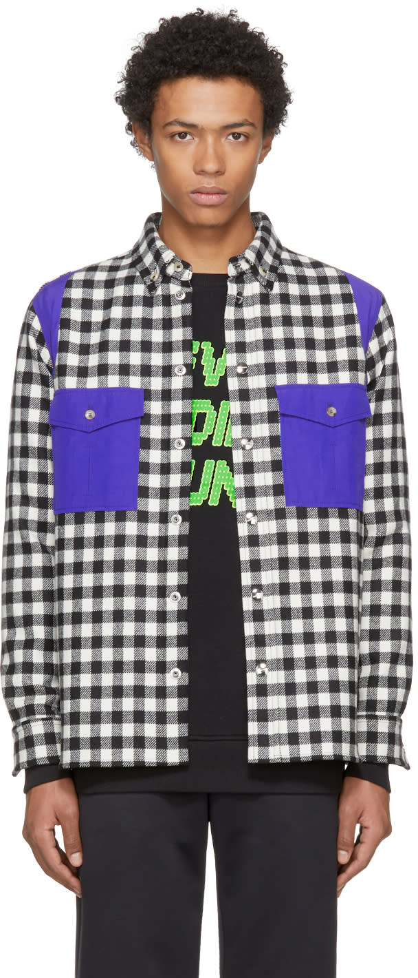 Image of Tim Coppens Black and White Check Wool Worker Shirt