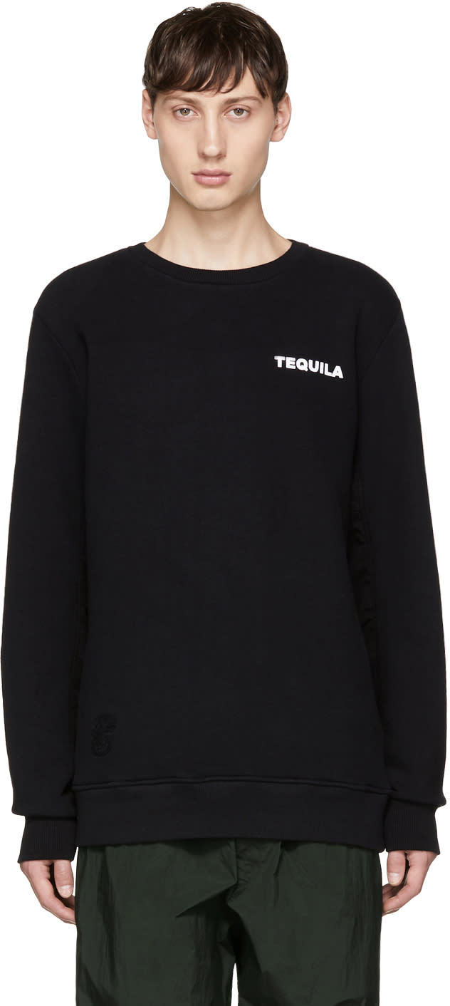 Image of Tim Coppens Black Printer Ma-1 Crewneck Sweatshirt