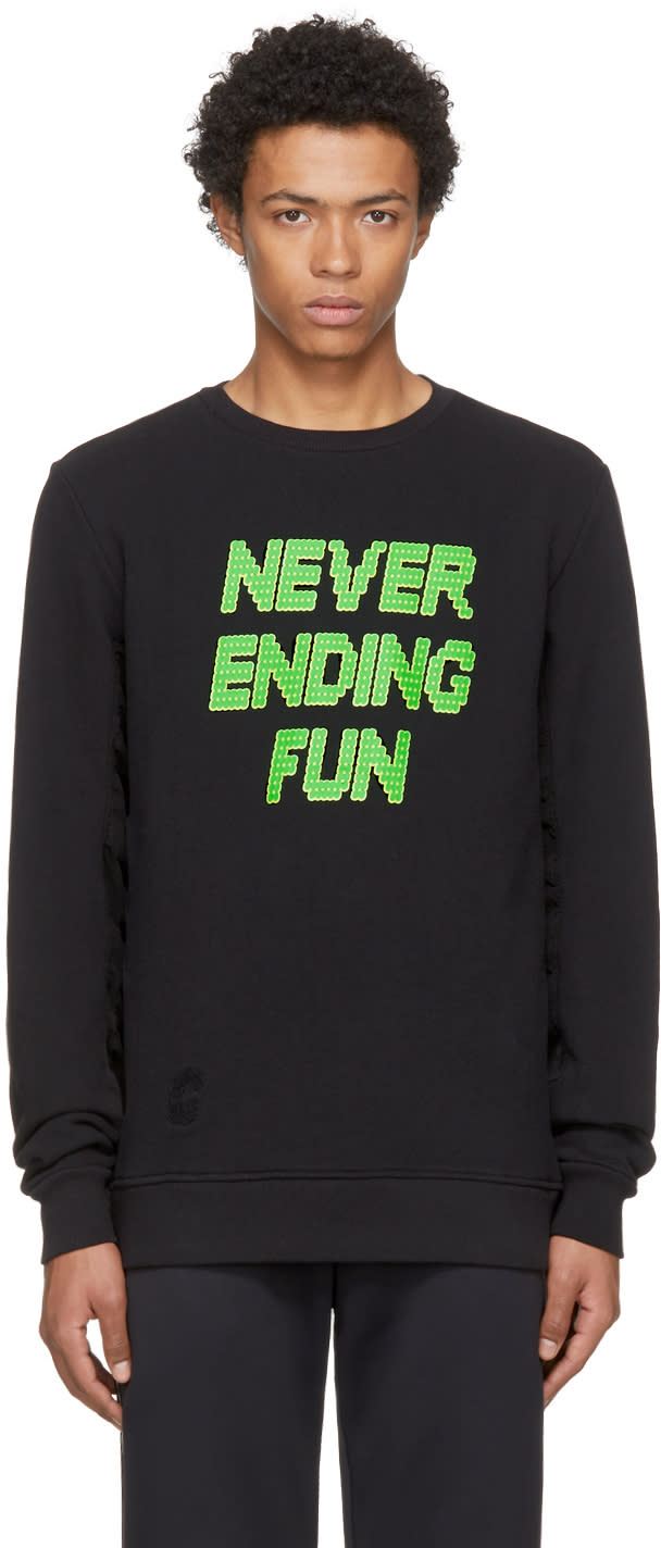 Image of Tim Coppens Black never Ending Fun Printed Ma-1 Crew Sweatshirt