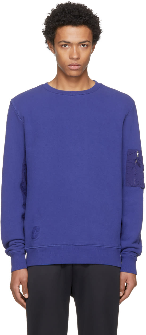 Image of Tim Coppens Blue Ma-1 Crew Sweatshirt