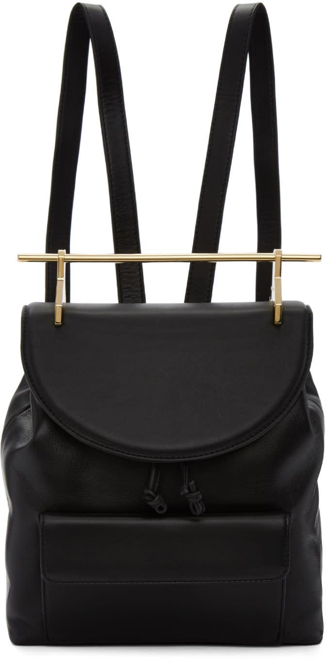 Image of M2malletier Black Leather Backpack