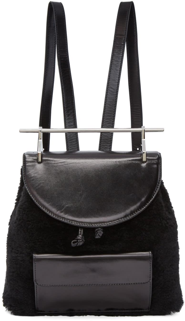Image of M2malletier Black Shearling Backpack