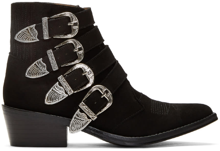 Image of Toga Pulla Black Suede Four-buckle Western Boots