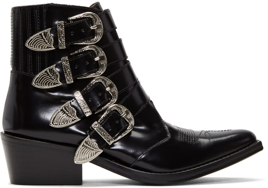 Image of Toga Pulla Black Four-buckle Western Boots