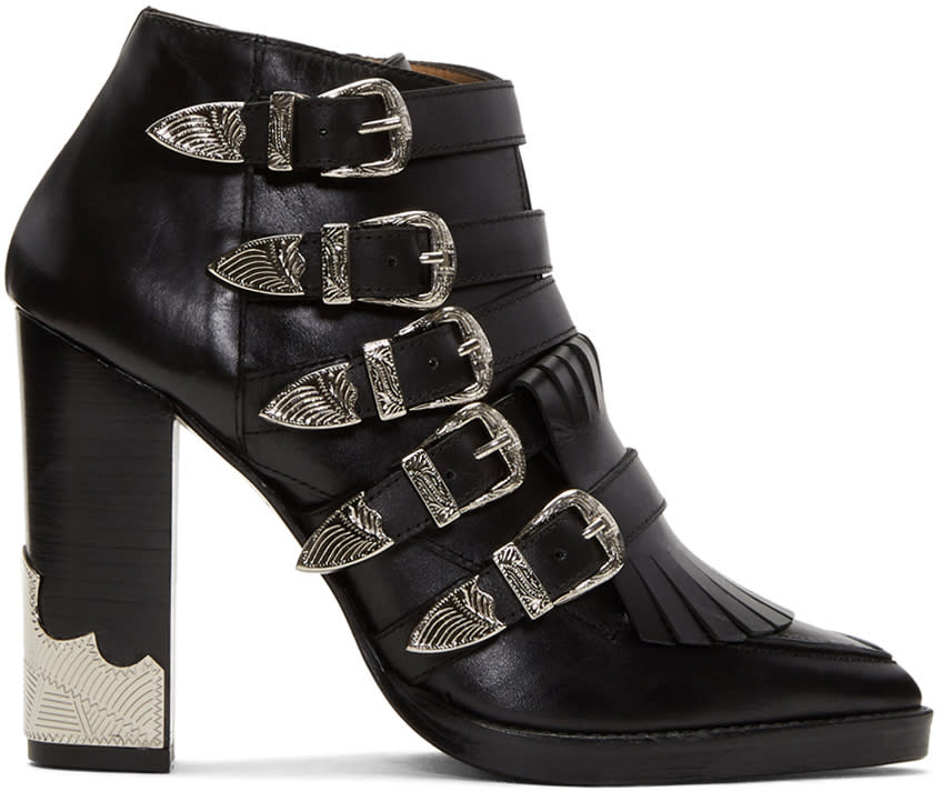 Image of Toga Pulla Black Heeled Five-buckle Western Boots