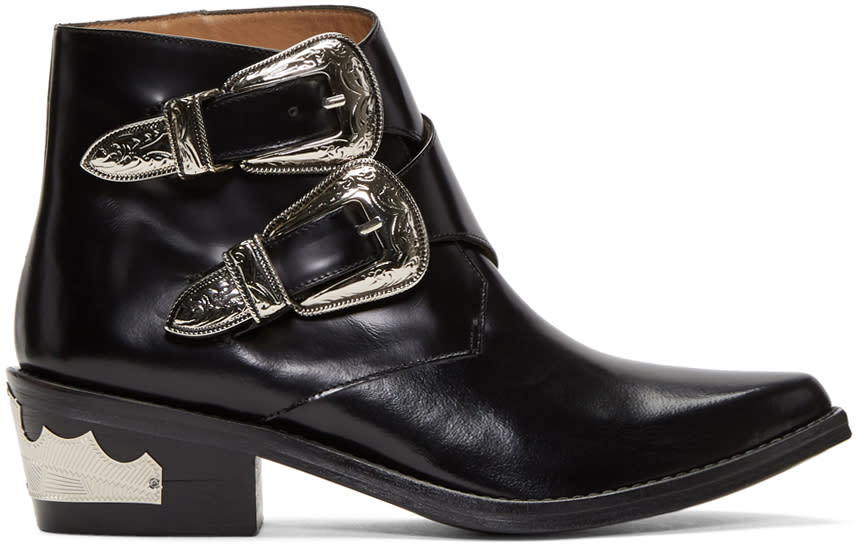 Image of Toga Pulla Black Two-buckle Western Boots