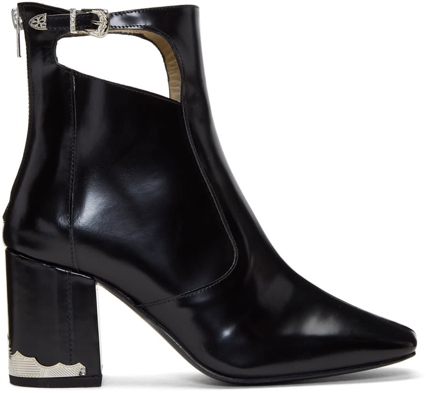 Image of Toga Pulla Black Heeled Cut-out Boots