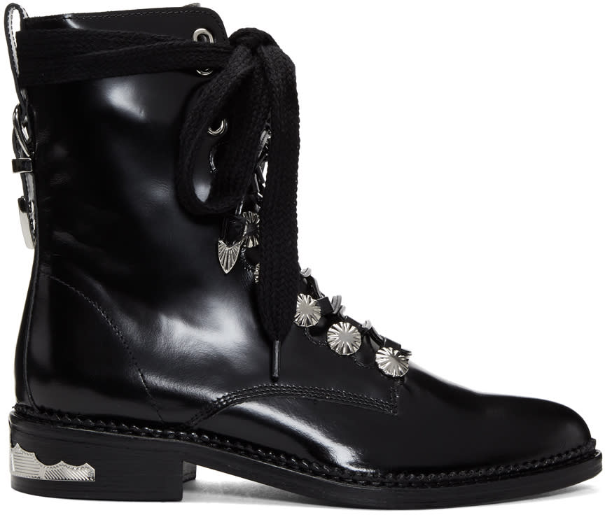Image of Toga Pulla Black Studded Lace-up Boots