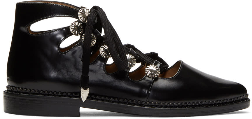 Image of Toga Pulla Black Lace-up Flats