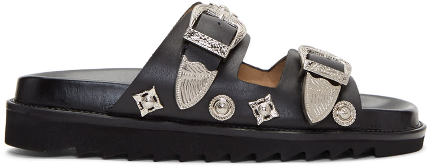 Image of Toga Pulla Black Charms and Buckle Slides
