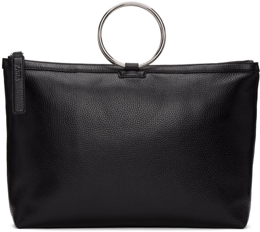 Kara Black Leather Ring Tote