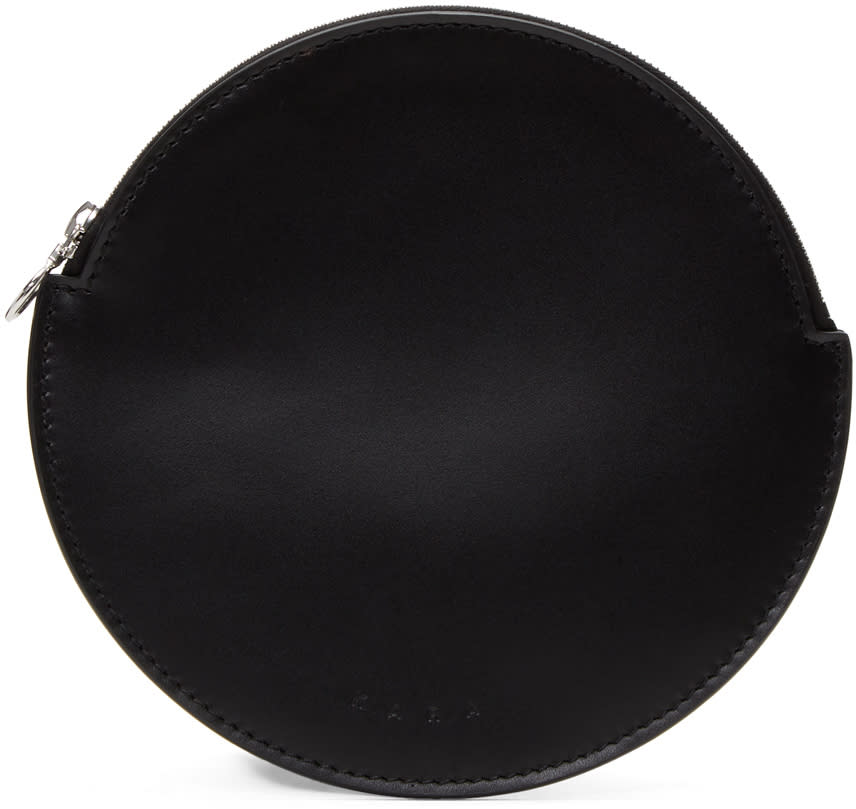Kara Black Flat Circle Pouch
