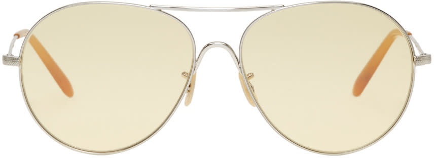 Image of Oliver Peoples Silver and Yellow Rockmore Sunglasses