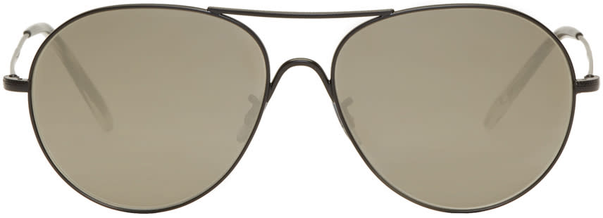 Image of Oliver Peoples Black Rockmore Aviator Sunglasses