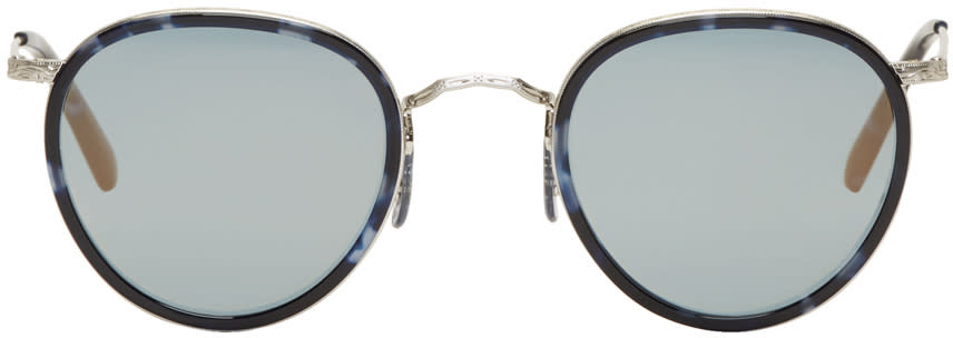 Image of Oliver Peoples Blue and Silver Vintage Mp-2 Sunglasses