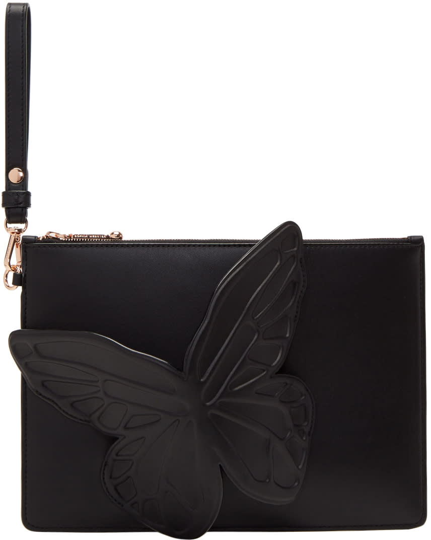 Image of Sophia Webster Black Flossy Butterfly Pouch