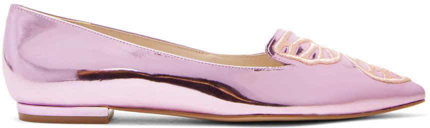 Sophia Webster Pink Metallic Bibi Butterfly Flats