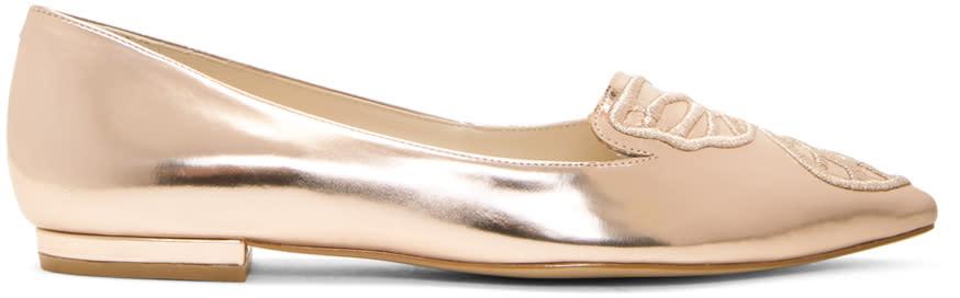 Sophia Webster Rose Gold Metallic Bibi Butterfly Flats