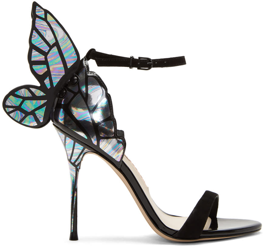 Image of Sophia Webster Black and Silver Chiara Sandals