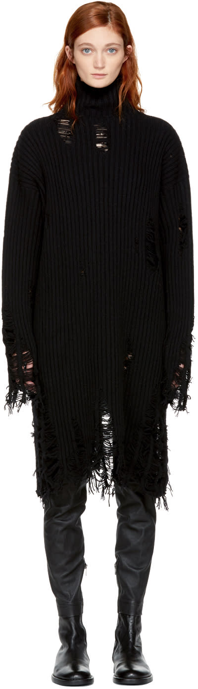 Image of Yang Li Black Broken Tattered Turtleneck Dress