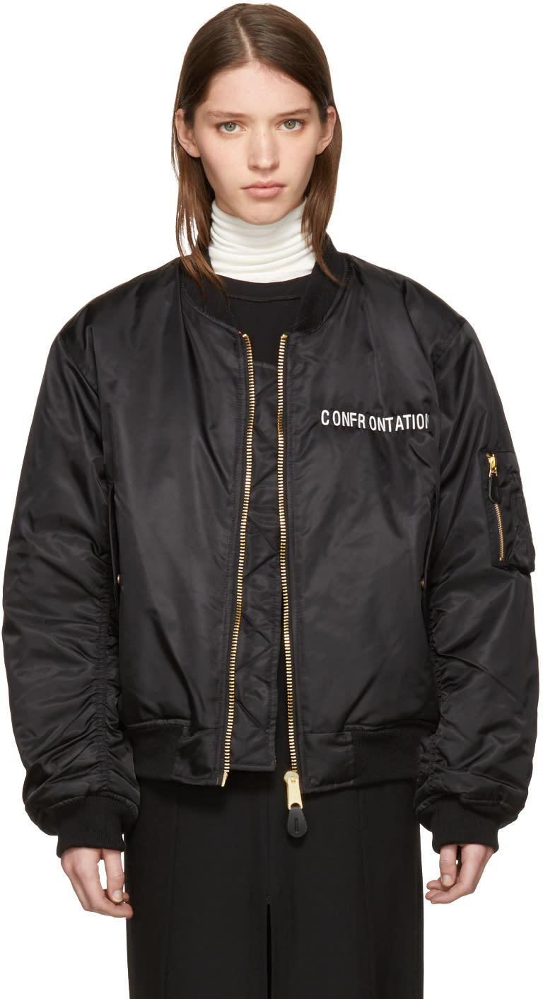 Image of Yang Li Black confrontation Bomber Jacket