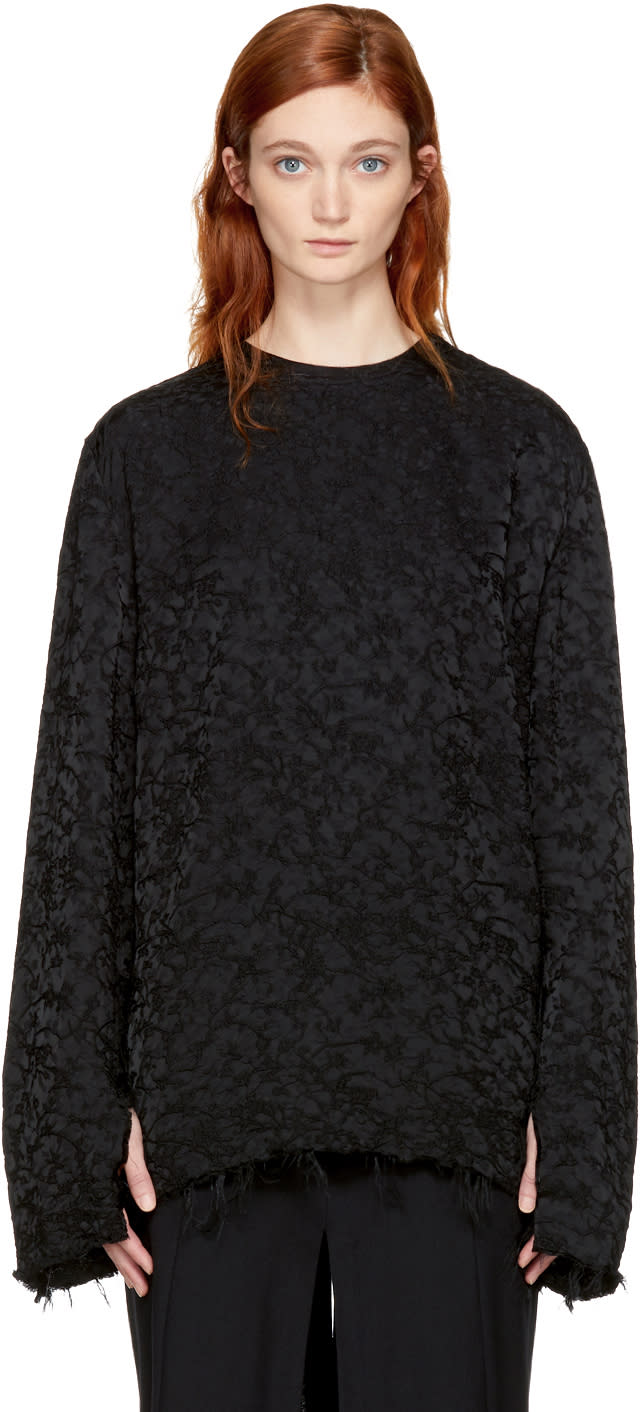 Image of Yang Li Black Embroidered Frayed Blouse