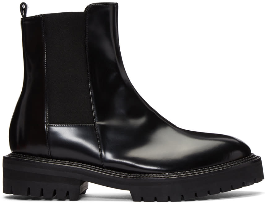 Image of Yang Li Black Leather Chelsea Boots