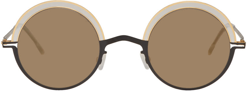 Mykita Black and Gold Bueno Sunglasses