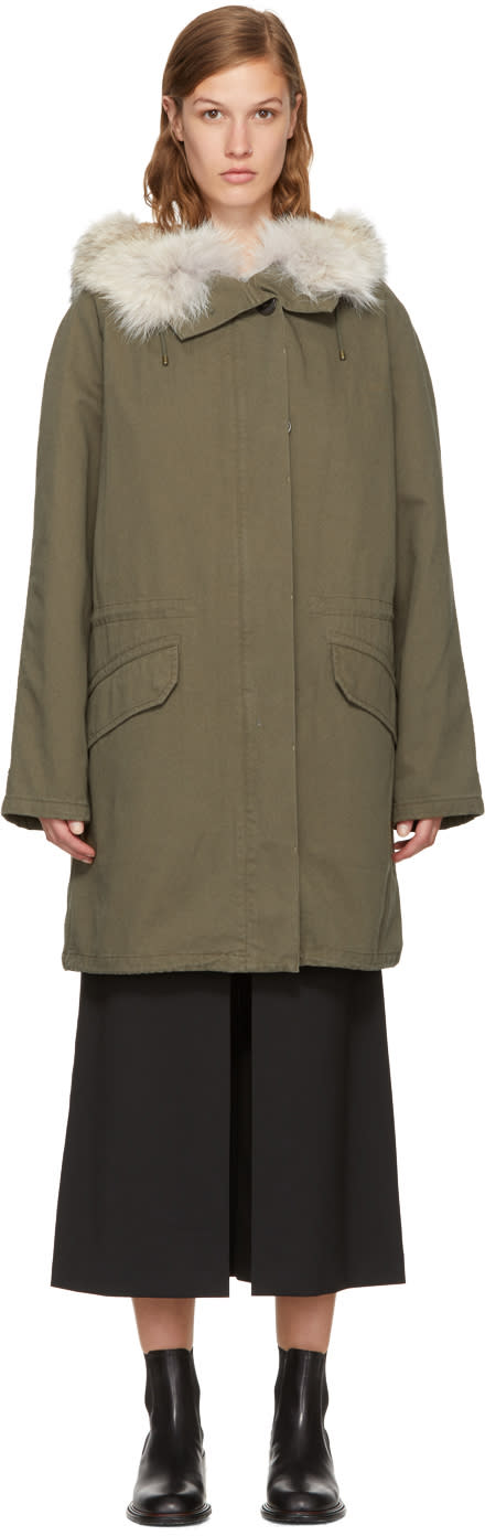 Image of Yves Salomon - Army Green Classic Long Fur-lined Parka