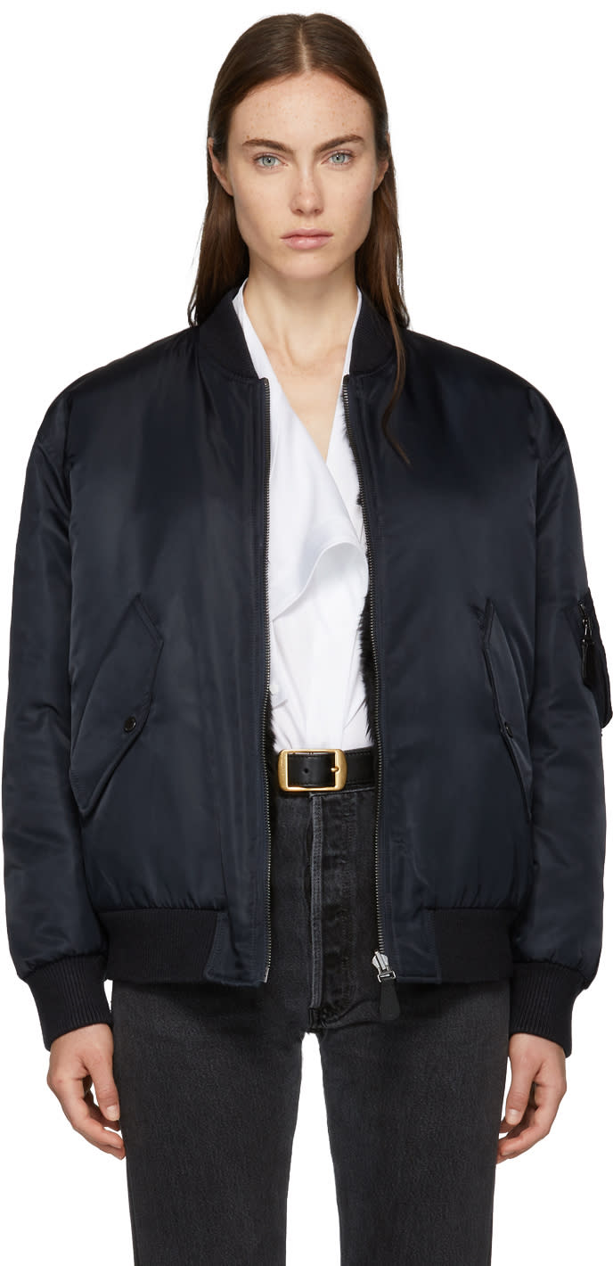 Image of Yves Salomon - Army Reversible Navy and Black Bomber Jacket