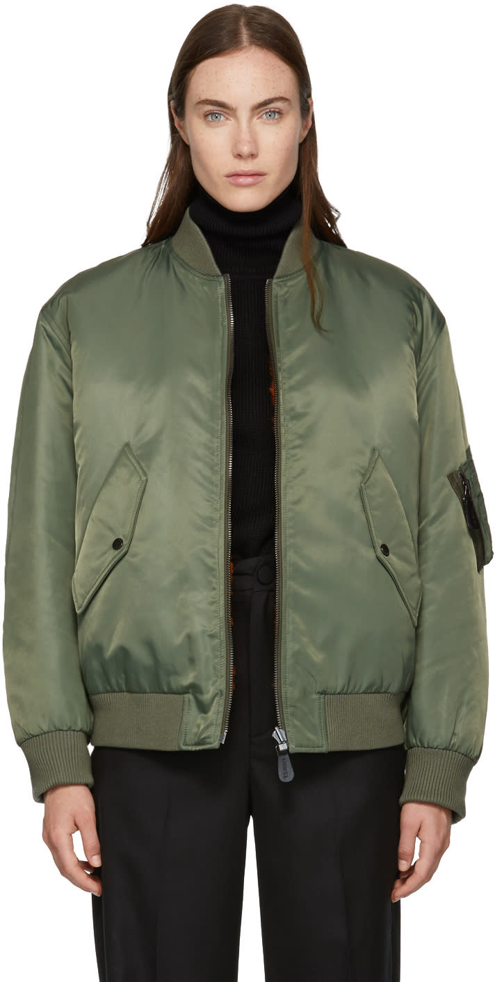 Image of Yves Salomon - Army Reversible Green and Orange Fur-lined Bomber Jacket