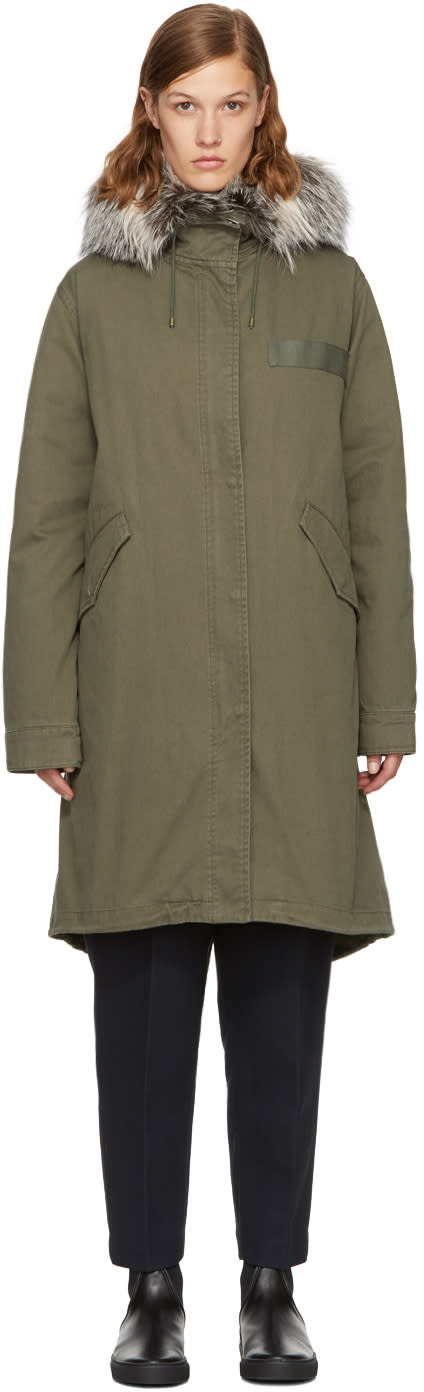 Image of Yves Salomon - Army Green Down and Fur Parka