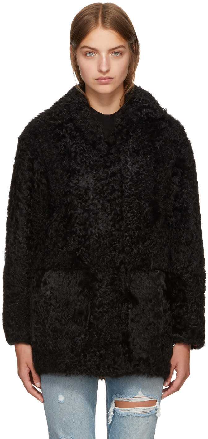 Image of Meteo By Yves Salomon Black Shearling Coat