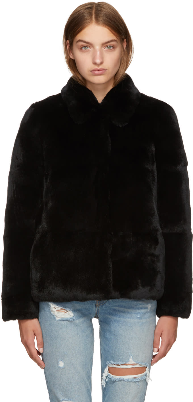 Image of Meteo By Yves Salomon Black Fur Jacket