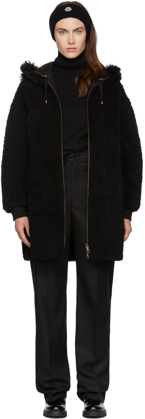 Image of Meteo By Yves Salomon Black Merino Shearling Jacket