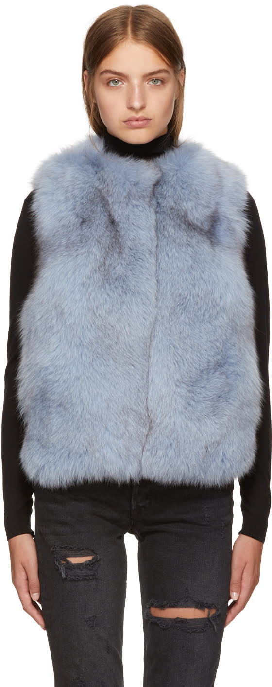 Image of Meteo By Yves Salomon Blue Fur Vest